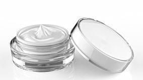 Cosmetic jar, skin care acrylic container with cream. Cover was opened.3d illustrate. Cosmetic jar, skin care acrylic container with cream. Cover was opened. 3d Royalty Free Stock Photos