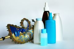 Cosmetic jars and bottles Stock Image
