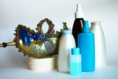 Cosmetic jars and bottles Royalty Free Stock Images