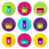 Cosmetic jars vector icon set Stock Image