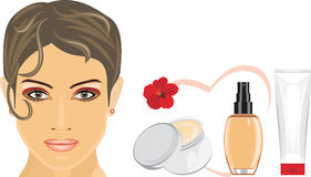 Cosmetic liquid foundation and cream for removing makeup Royalty Free Stock Photo