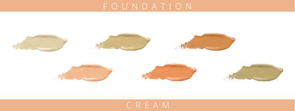 Cosmetic liquid foundation cream set in different colour smudge smear strokes. Make up smears isolated on white Royalty Free Stock Photos