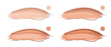 Cosmetic liquid foundation cream set in different colour smudge smear strokes. Make up smears isolated on white Stock Photo