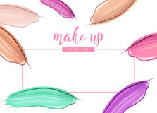 Cosmetic liquid foundation and lipstick smudge smear cream strokes  on white background. Make up vector template Royalty Free Stock Photos