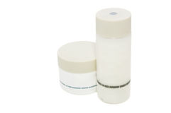 Cosmetic/lotion bottles on white w/ clipping path Stock Images