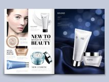 Cosmetic magazine design. Attractive model with skincare sets on silky satin in 3d illustration, bokeh background Royalty Free Stock Photo