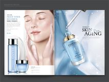Cosmetic magazine template. Elegant model with droplet bottle isolated on light blue chiffon background, in 3d illustration Royalty Free Stock Photos