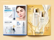Cosmetic magazine template. Lotion with flowing cream and oil in 3d illustration, product catalog for design Stock Photo