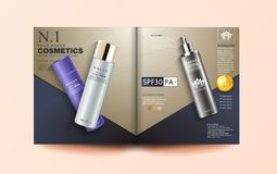 Cosmetic magazine template, Elegant essence ads, cosmetic silver and white spray bottle, 3d illustration royalty free illustration