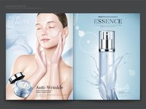 Cosmetic magazine template. Elegant model with anti-wrinkle cream on her face, essence spray bottle with splashing liquid in 3d illustration stock illustration
