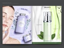 Cosmetic magazine template. Elegant model with spa and skincare products, in 3d illustration Royalty Free Stock Images