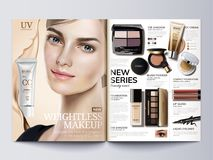 Cosmetic magazine template. Fashion catalogue with beautiful model in 3d illustration royalty free illustration