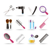 Cosmetic, Make Up And Hairdressing Icons Stock Photos