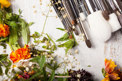 Cosmetic Make up brushes next to wild flowers Stock Photo