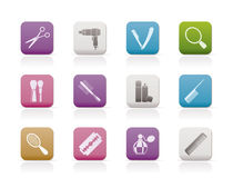 Cosmetic, make up and hairdressing icons Stock Photo