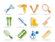 Cosmetic, make up and hairdressing icons Stock Images