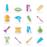 Cosmetic, make up and hairdressing icons royalty free illustration