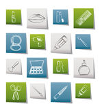 Cosmetic, make up and hairdressing icons Stock Image