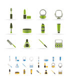 Cosmetic and make up icons. Icon set - 3 colors included Royalty Free Stock Image