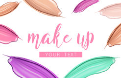Cosmetic make up liquid foundation and lipstick smudge smear cream or paint strokes  on white background. Vector Royalty Free Stock Images