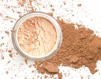 Cosmetic make up powder in circle box. Royalty Free Stock Photography