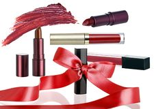 Cosmetic Make Up Set with Christmas Holiday Sale Ribbon royalty free stock photography