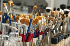 Cosmetic Makeup brushes Stock Photo