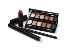 Cosmetic makeup kit with brushes Stock Images