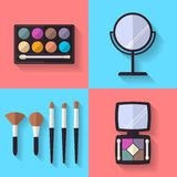 Cosmetic and Makeup Vector flat Icons Stock Image