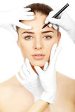 Cosmetic medicine. Peparing for plastic surgery Stock Image