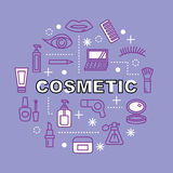 Cosmetic minimal outline icons Stock Photography