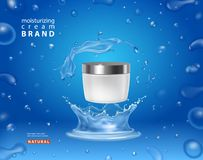Cosmetic moisturizing cream box Premium ads skincream on blue background in water splash with bubbles and drops.  vector illustration