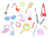 Cosmetic objects. Collection of cosmetic objects and accessories, vector illustration vector illustration
