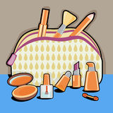 Cosmetic objects and bag Stock Photo