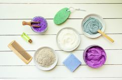 Cosmetic objects for spa procedures on a white background. Selective focus. stock photo