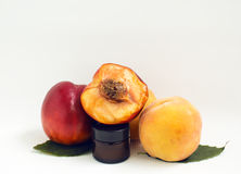 Cosmetic oil peach Stock Images