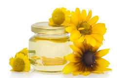 Cosmetic oil from yellow flowers Royalty Free Stock Photography
