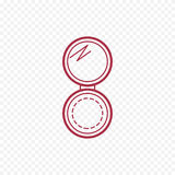 Cosmetic open compact powder thin line icon. Royalty Free Stock Photo