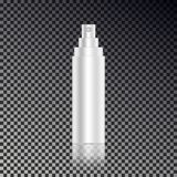 Cosmetic open hair spray ads template, blank cosmetic mockup bottle with transparent reflection iso. Lated on dark background. Realistic white 3D vector Royalty Free Stock Photography