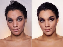 Before and after cosmetic operation. Young pretty woman portrait Royalty Free Stock Image