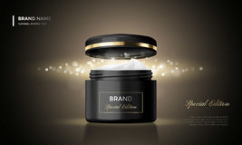 Cosmetic package advertising vector cream jar premium black glitter background Stock Photos