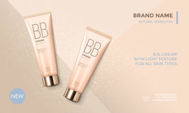 Cosmetic package advertising vector template BB face cream. Cosmetic package advertising vector template for BB face cream or skin care moisturizer tube on royalty free illustration