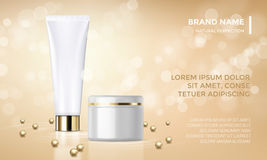 Cosmetic package advertising vector template skin care cream gold background. Cosmetic package or face cream product advertising vector template design. Woman stock illustration