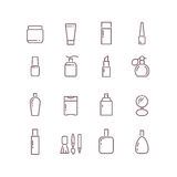 Cosmetic package bottles thin outline vector icons set Stock Photos