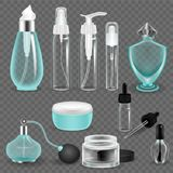 Realistic mock-up, transparent glass jars, bottles, bubbles from women`s cosmetics. Cosmetic package collection concept. Realistic mock-up, templates, various Royalty Free Stock Photo