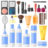 Cosmetic package icon set. Makeup flat icon set. Isolated objects on white background vector illustration