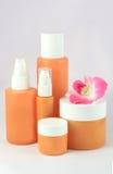 Cosmetic packaging. Set of cosmetic packaging orange Stock Photos