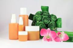 Cosmetic packaging. Set of cosmetic packaging orange Royalty Free Stock Image