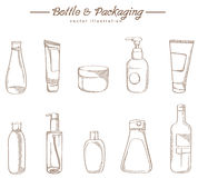 Cosmetic packaging hand drawing sketch. Free hand royalty free illustration