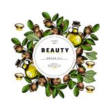 Cosmetic packaging template. Argan nut oil beauty product. Vector hand drawn illustration. Organic vegetarian food. Ingredient. Good for label, beauty shop, spa vector illustration